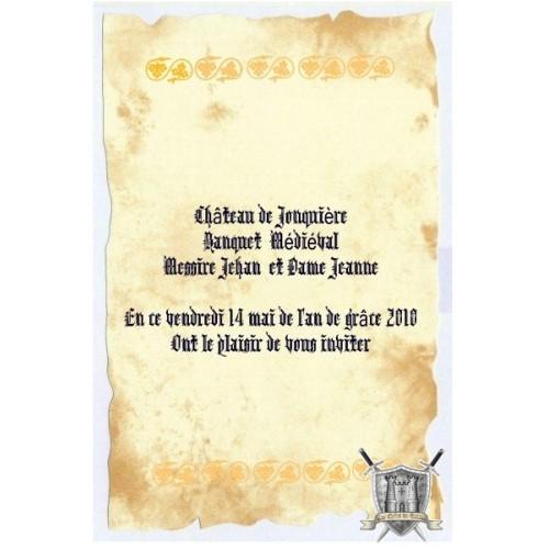 invitation banquet médiéval