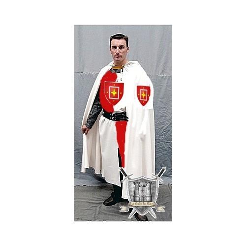 cape blanche pour chevalier du moyen age