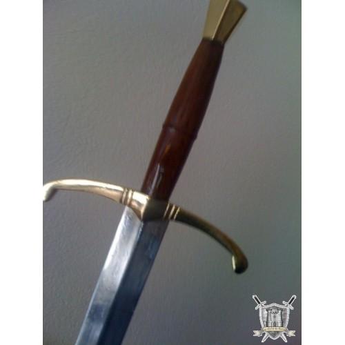 epée medievale lame longue poignée en bois