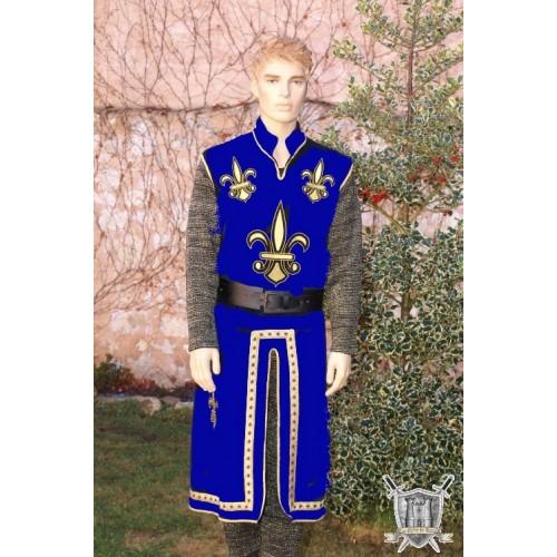 tunique bleue avec passementerie aux fils d'or