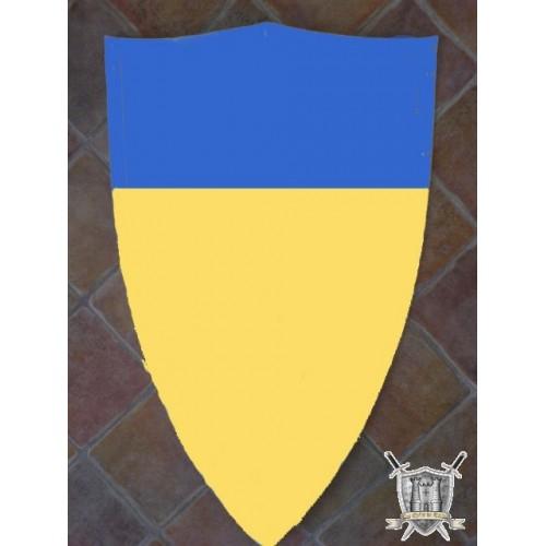 bouclier en acier jaune et bleu