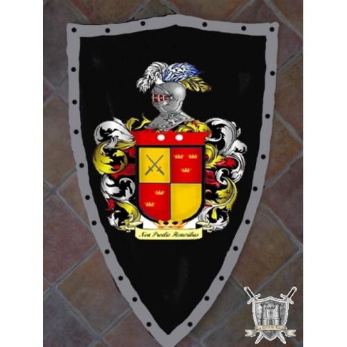 bouclier en acier avec armoiries peintes à la main