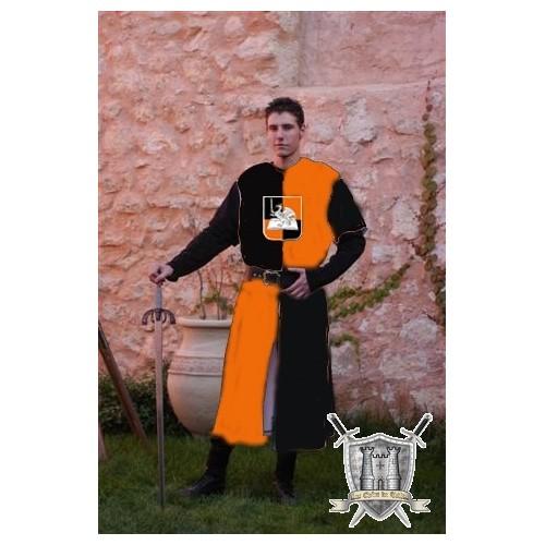 tunique en velours de coton noir et orange
