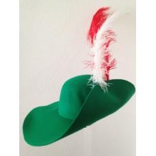 chapeau de mousquetaire vert