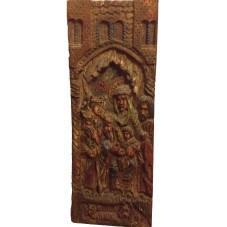 Bas-relief médiévale sur bois