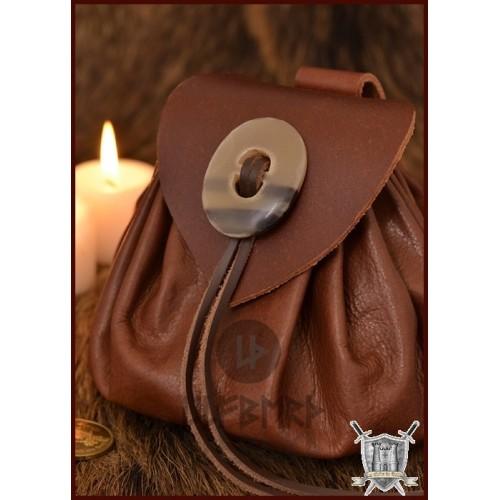Sac en cuir médiéval avec bouton en corne