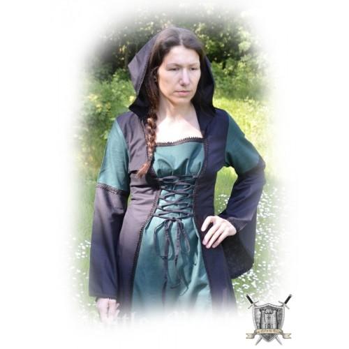Robe médiévale avec capuche coton et lin