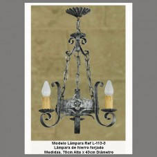 lustre 3 supports fer forgé rustique