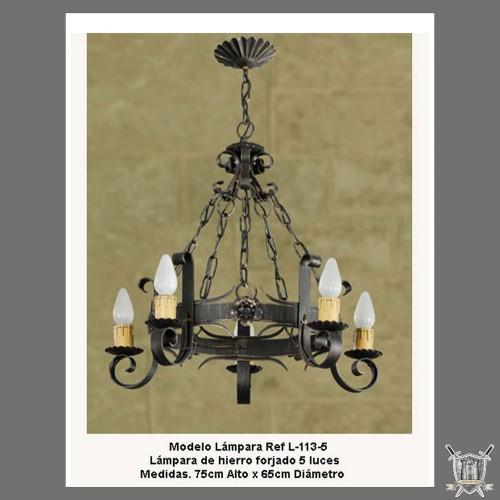 Lustre médiéval rustique fer forgé 5 lumières