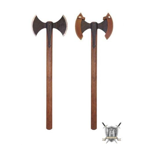 Double hache médiévale de combat