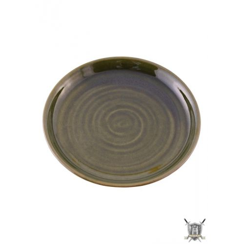 Plat médiéval en terre cuite verte 22cm