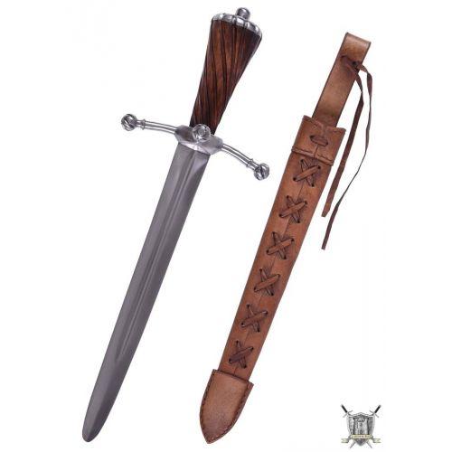 Poignard Médiéval avec fourreau en cuir Landsknechte