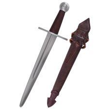 Dague médiévale acier et fourreau cuir