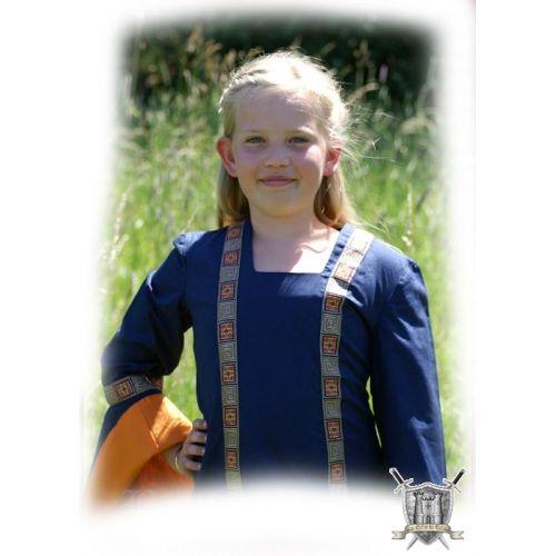 Robe médiévale bleue 8 à 12 ans