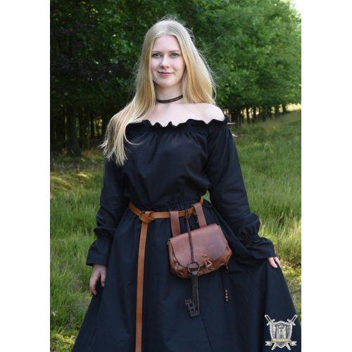 Chemisier  médiéval carmen 100% coton noir