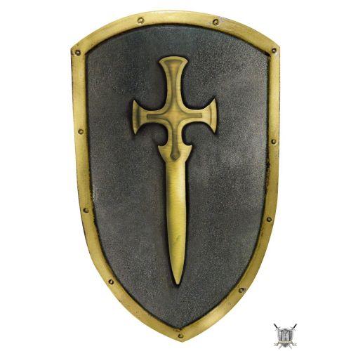 Bouclier à l'épée d'or en latex pour combat GN