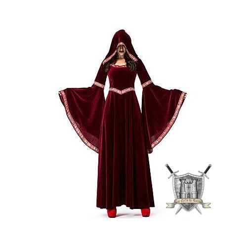 Robe médiévale en velours avec capuche