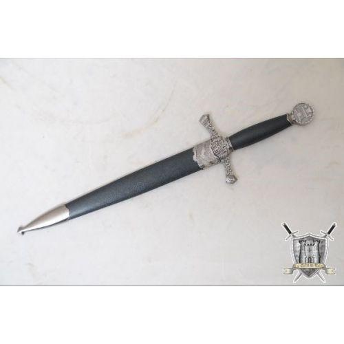 Dague médiévale en acier avec fourreau