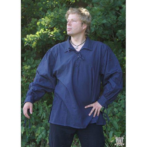 Chemise médiévale à lacets coton bleu