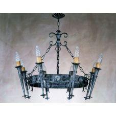 Lustre rustique acier traité torches