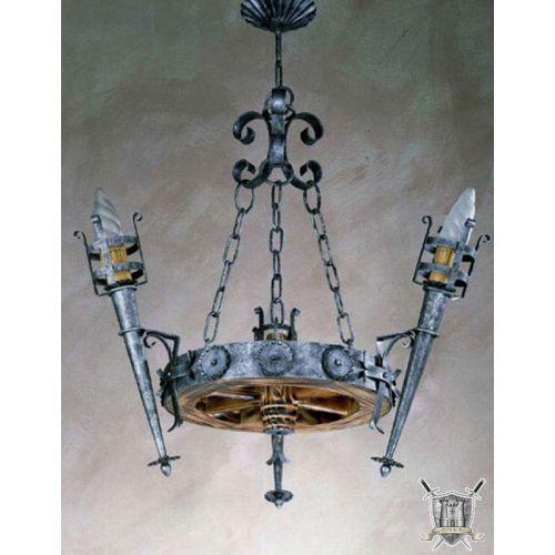 lustre médiéval rustique acier traité vieilli 3 torches