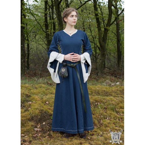 Robe médiévale coton naturel bleu