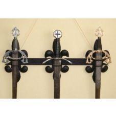 support 3 épées fleur de lys acier fortgé