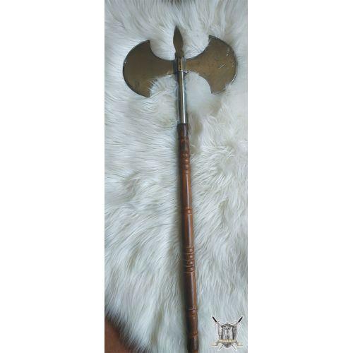 Hache médiévale bois et acier
