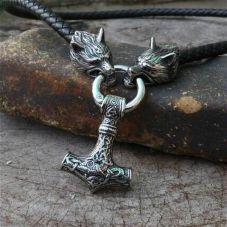 Pendentif cuir et bronze marteau de Thor viking