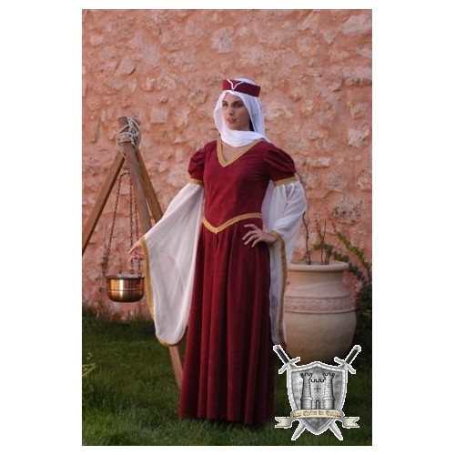 habit medieval rouge demoiselle